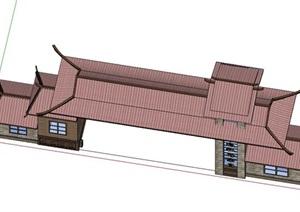 古典中式入口大门模型