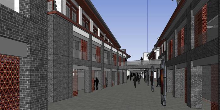现代中式商业街建筑详细设计su模型[原创]