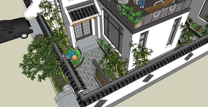 新中式徽派風格別墅建筑SU模型