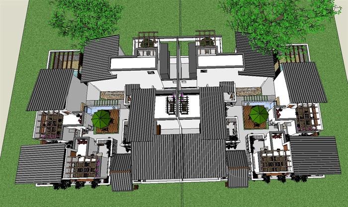 现代中式合院详细别墅设计su模型[原创]