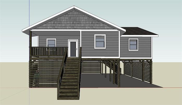 欧式海滨小木屋别墅建筑SU模型,模型为欧式风格,模型有材质贴图,制作详细独特完整,具有一定的使用价值,欢迎下载。