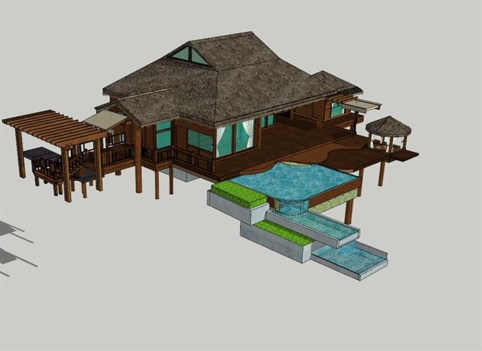 南亚度假酒店建筑设计su模型[原创]