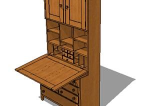 室内全木质详细的柜子设计SU(草图大师)模型
