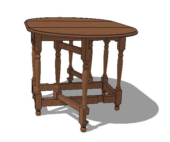 木质详细的桌子素材su模型[原创]