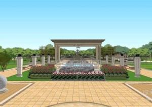 清正廉洁主题公园景观设计方案SU模型
