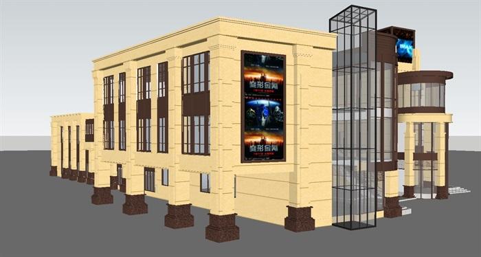 新古典风格商业街建筑su设计模型[原创]