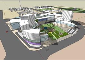 现代大型酒店概念方案模型