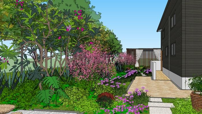 现代主义风格别墅庭院景观设计su模型[原创]