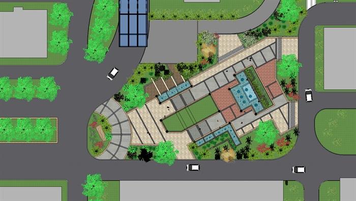 现代主义风格居住区景观详细设计su模型[原创]