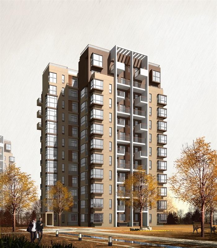 现代小高层住宅楼设计psd效果图[原创]图片