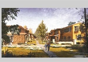某别墅小区建筑及景观psd效果图