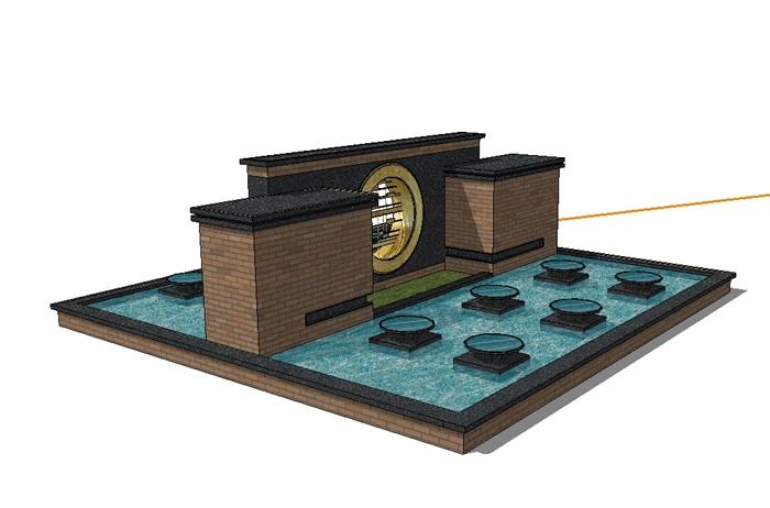 现代风格水池景墙设计su模型[原创]
