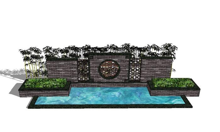 中式详细完整的水景墙设计su模型[原创]