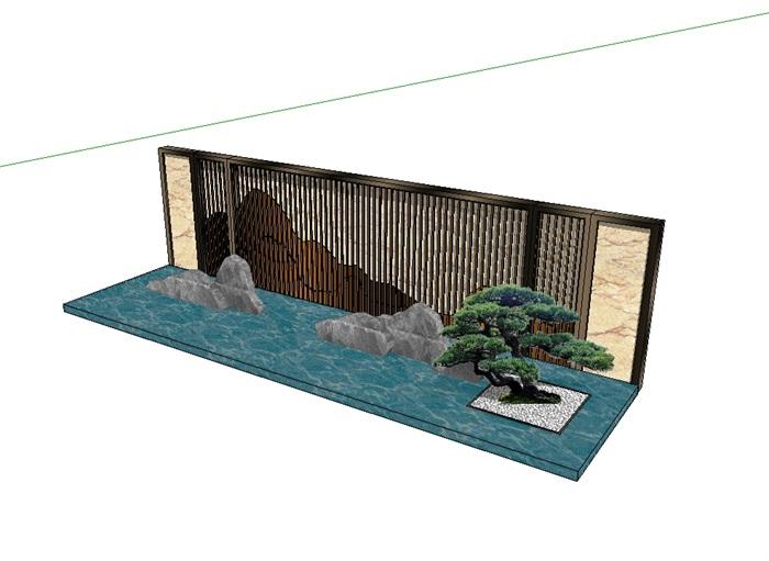 现代中式水池景墙设计su模型[原创]