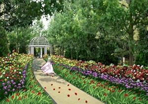 某欧式别墅庭院景观psd效果图