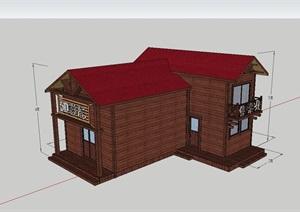 精致的防腐木木屋影院建筑SU(草图大师)模型