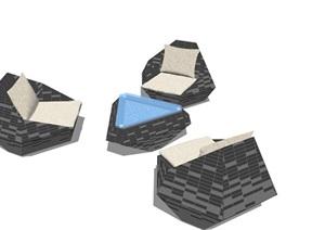 异形桌椅组合设计SU(草图大师)模型