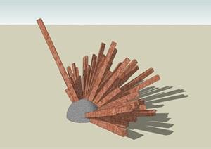 放射状抽象雕塑小品SU(草图大师)模型