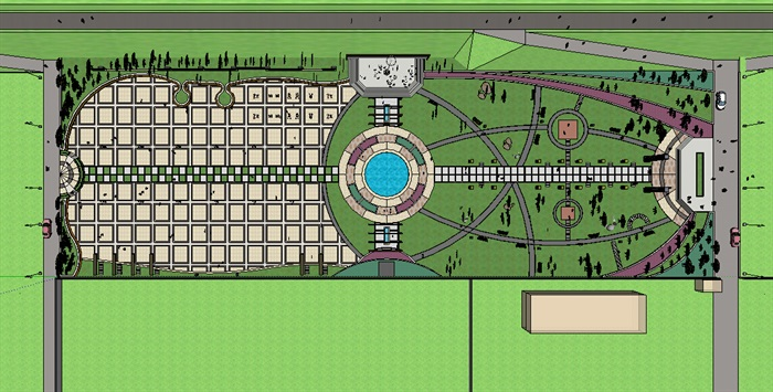 现代风格轴对称广场景观su模型[原创]