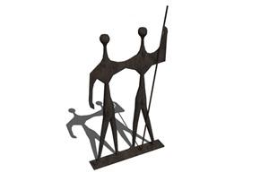 小品抽象人形雕塑SU(草图大师)模型