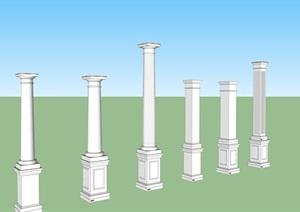 某欧式多种柱子设计SU(草图大师)模型