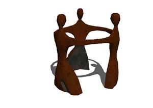 抽象组合人物小品素材设计SU(草图大师)模型
