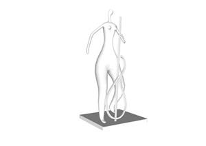 现代独特抽象人物雕塑SU(草图大师)模型