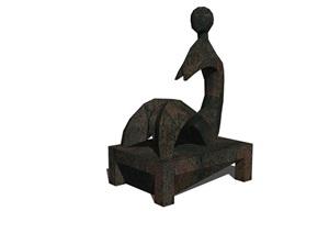 某现代风格抽象人物小品SU(草图大师)模型