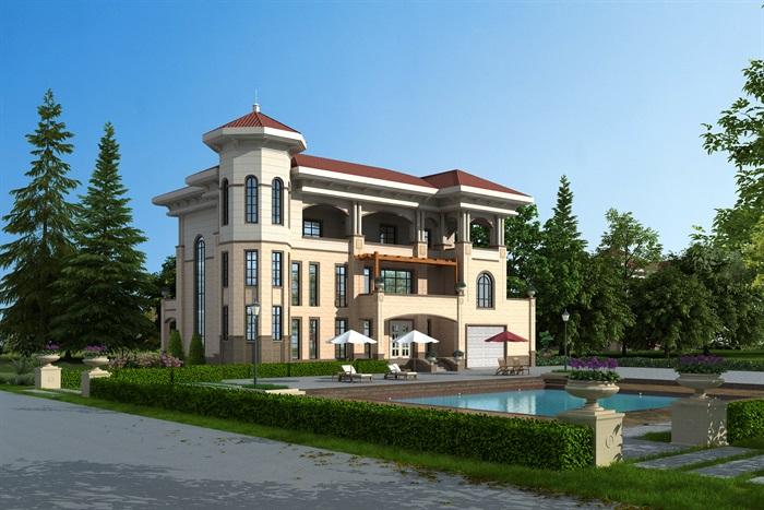 欧式风格精美别墅建筑max模型