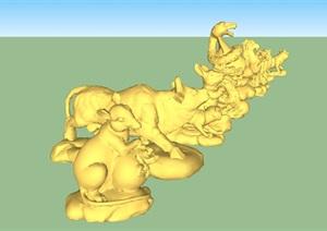 十二生肖小品动物雕塑SU(草图大师)模型