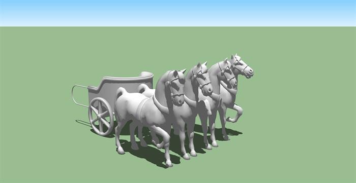 马车小品动物雕塑素材设计su模型[原创]