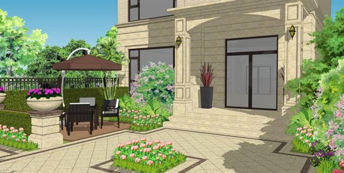 法式别墅庭院花园景观方案su模型[原创]