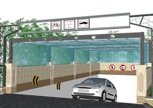 现代地下停车场入口玻璃雨棚SU模型