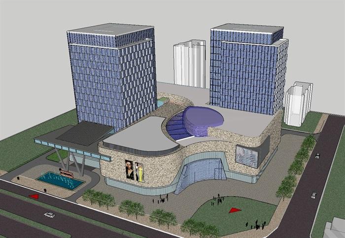 四个德阳酒店建筑设计模型SU女神(附CAD平面设计师的新衣方案图片