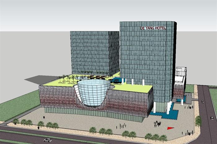 四个德阳酒店建筑设计方案SU平面(附CAD模型装修弱电电路设计图片
