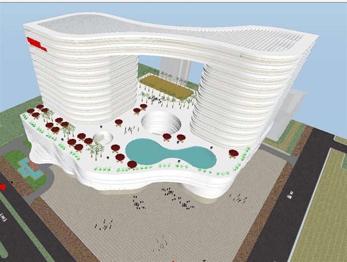 四个德阳模型建筑设计图纸SU字母(附CAD平面室内设计cad酒店英文方案图片
