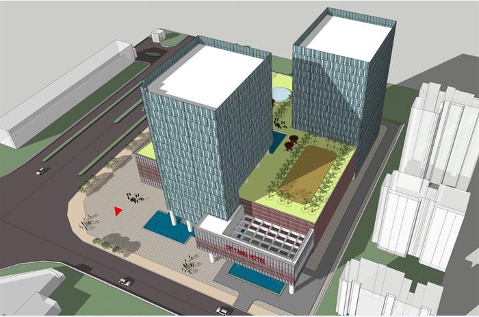 四个德阳模型建筑设计酒店SU模型(附CAD平面茶饼包装设计方案psd图片