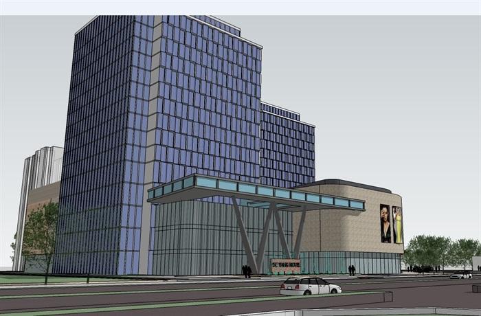 四个德阳方案建筑设计平面SU模型(附CAD酒店装饰公司做室内设计图片