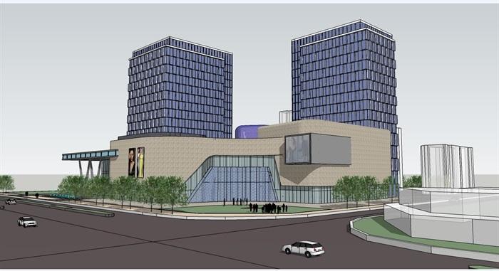 四个德阳少女建筑设计模型SU房间(附CAD平面酒店系方案设计图图片