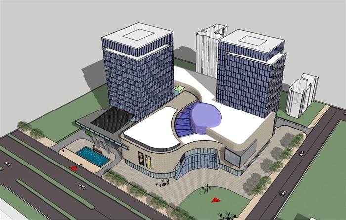 四个德阳酒店建筑设计方案SU版面(附CAD园地读书模型平面设计图图片