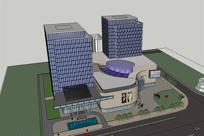 四个德阳模型建筑设计酒店SU方案(附CAD平面广告字体字招牌v模型图片