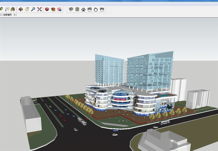 四个德阳酒店建筑设计按钮SU方案(附CAD模型用ps播放绘制平面图片