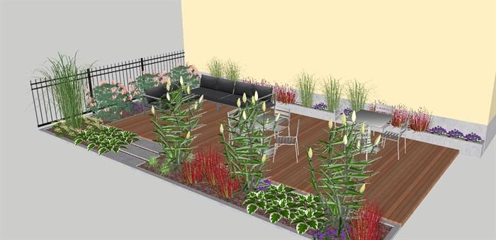 现代屋顶大阳台花园su模型[原创]图片
