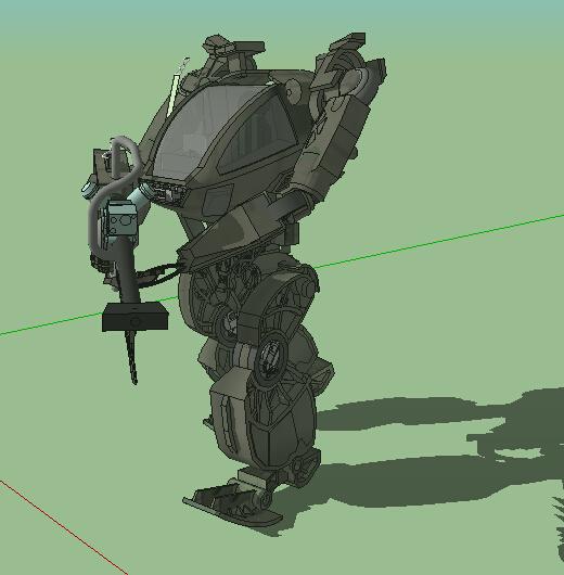 机甲战士雕塑设计su模型[原创]