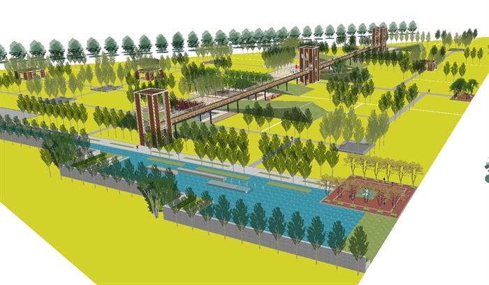 现代规则式湿地公园景观方案su模型[原创]