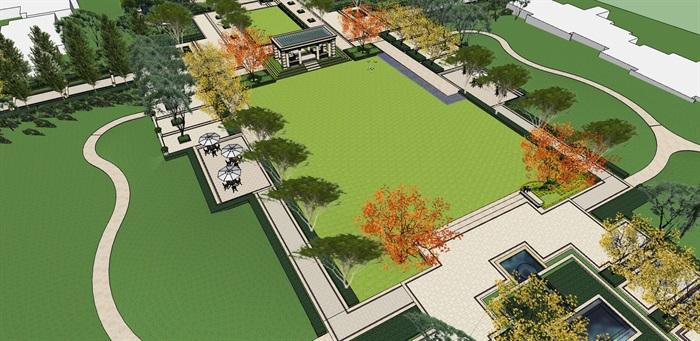 法式住宅中轴庭院景观设计su模型[原创]