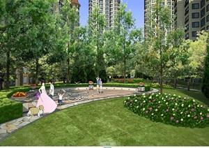 小区住宅中庭景观psd效果图