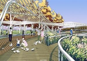 现代公园景观设计psd效果图