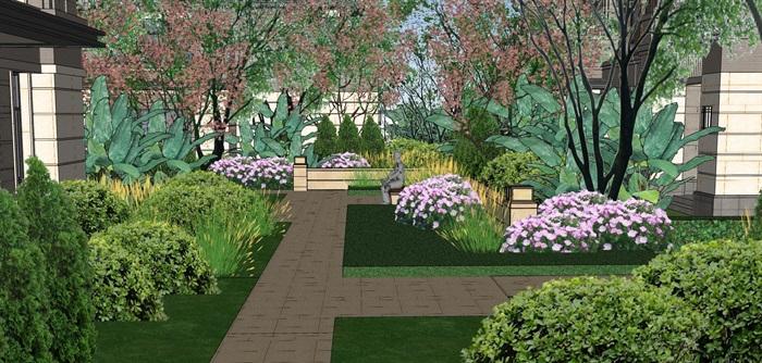 北区住宅次入口庭院景观设计su模型[原创]图片