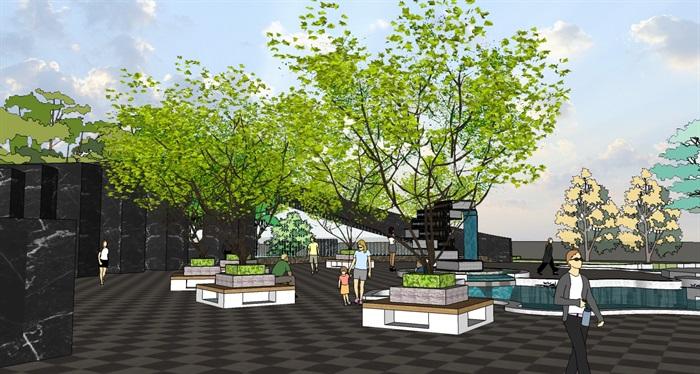 景观设计校园公共绿地设计su模型[原创]